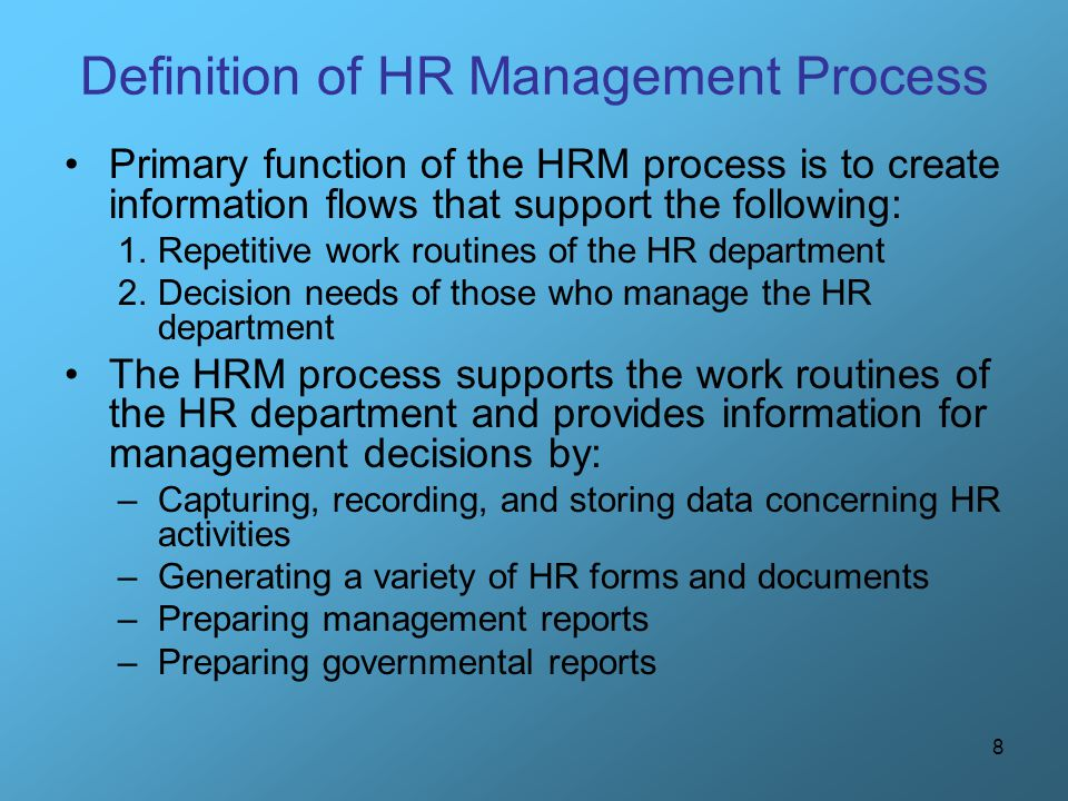 Definition of HR Management Process