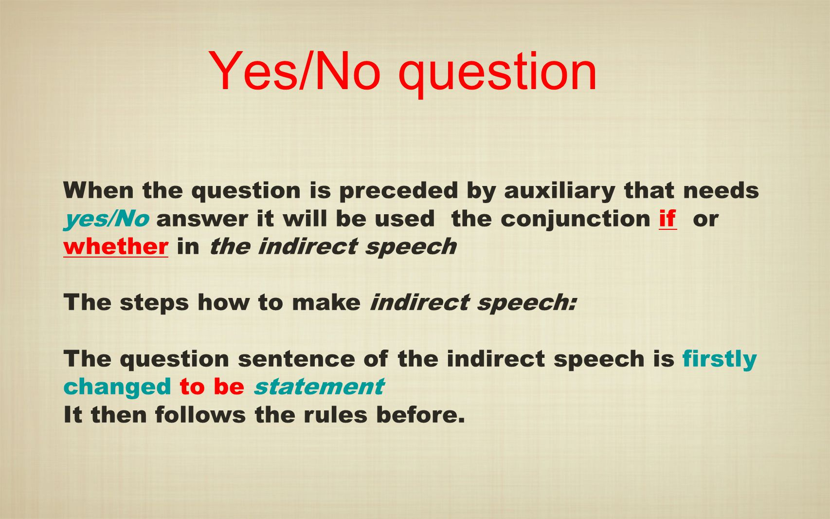 Yes/No question When the question is preceded by auxiliary that needs