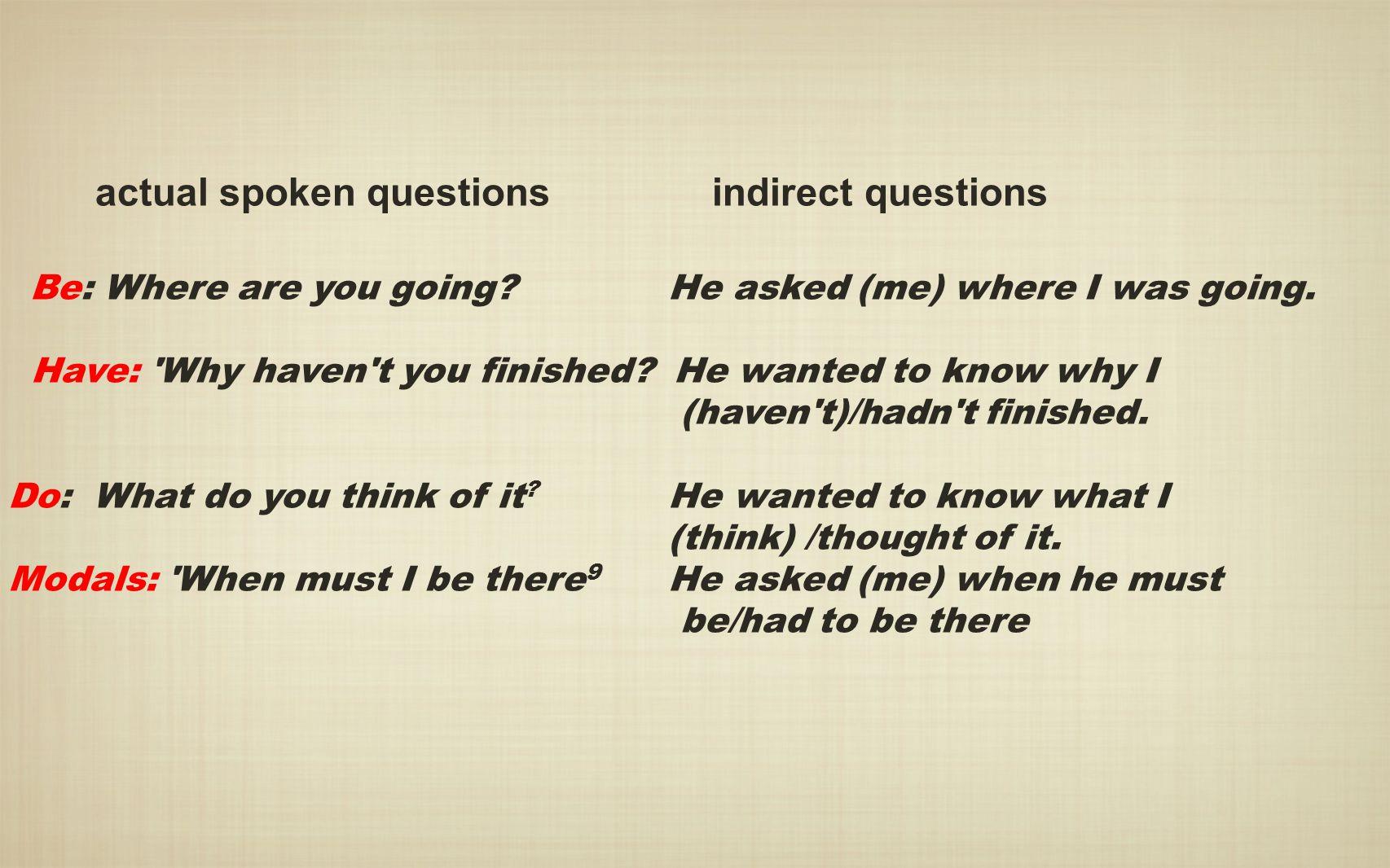 actual spoken questions indirect questions