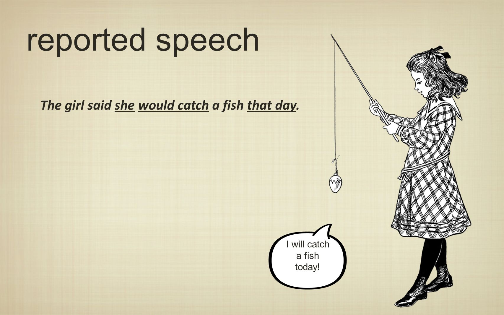 reported speech The girl said she would catch a fish that day.