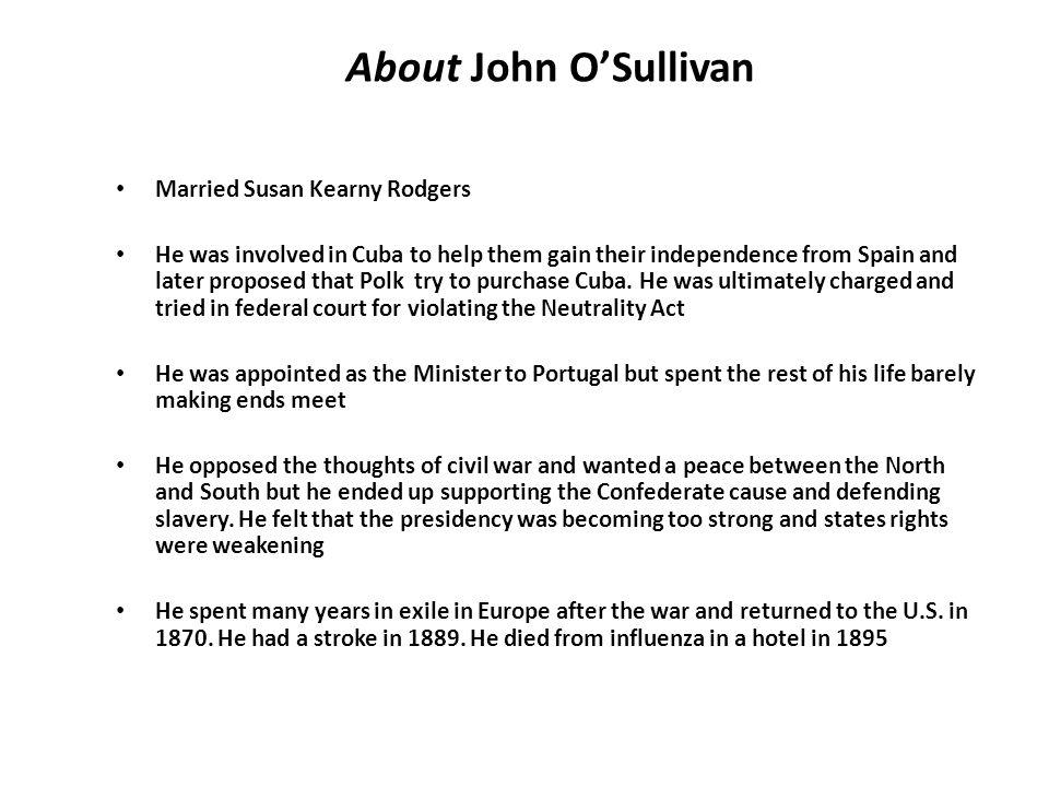 About John O'Sullivan Married Susan Kearny Rodgers