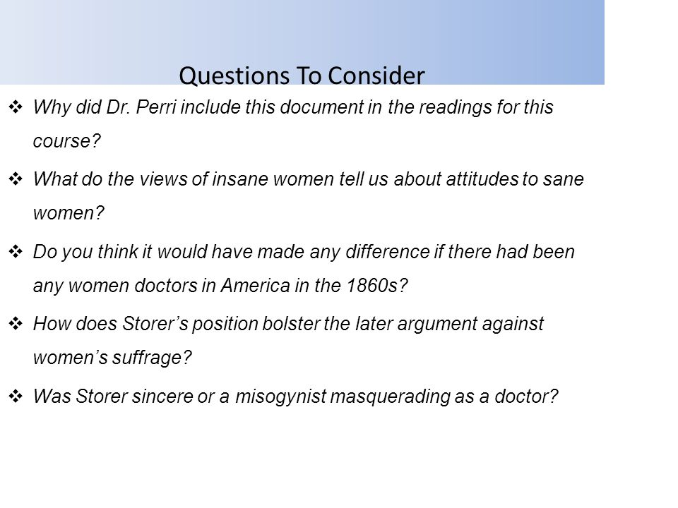 Questions To Consider Why did Dr. Perri include this document in the readings for this course