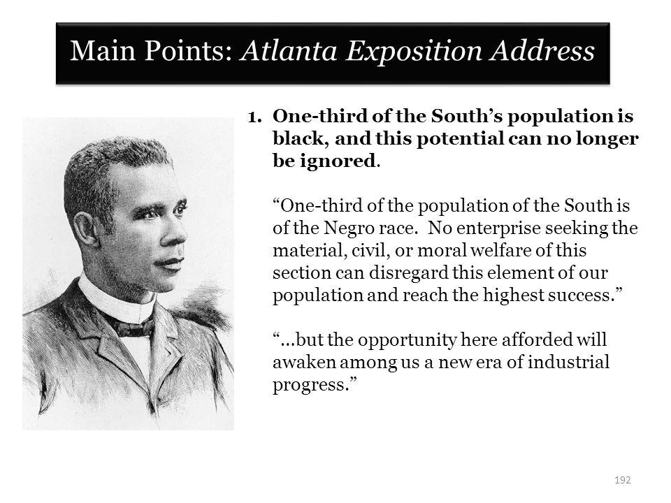 Main Points: Atlanta Exposition Address