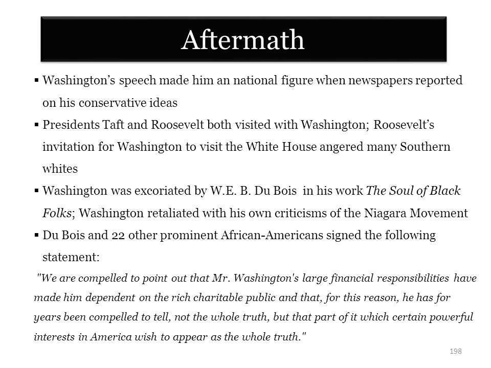 Aftermath Washington's speech made him an national figure when newspapers reported. on his conservative ideas.