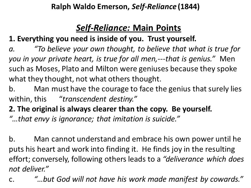 """microcredit a way to self reliance essay Emerson's """"self-reliance"""" and thoreau's """"civil both """"self-reliance"""" and """"civil disobedience"""" are relevant in both essays also mention the."""