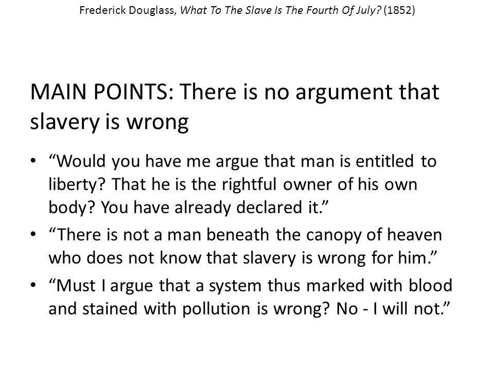 "major points of the pro slavery argument Flawed pro-slavery argument: ""i want to be clear, i don't like slavery i think it's  terrible  it's important to make that distinction if you don't, it can."