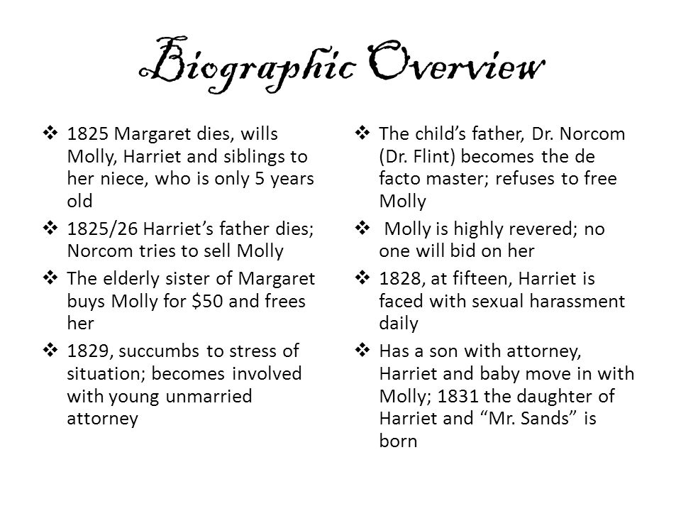 Biographic Overview 1825 Margaret dies, wills Molly, Harriet and siblings to her niece, who is only 5 years old.