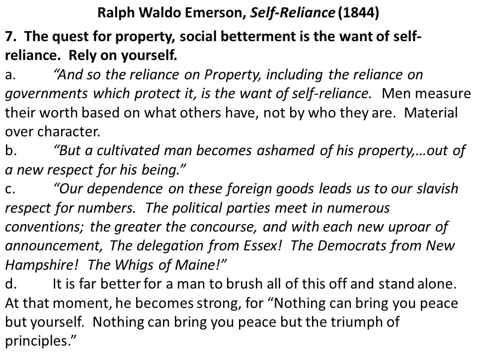 an analysis of transcendentalism in self reliance an essay by ralph waldo emerson The theme of self-reliance in walden from litcharts  self-reliance theme analysis  out most famously and directly in ralph waldo emerson's essay, self-reliance.