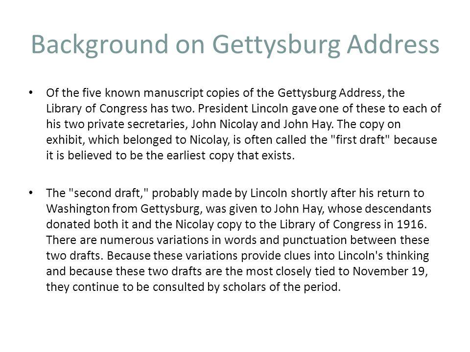 Background on Gettysburg Address