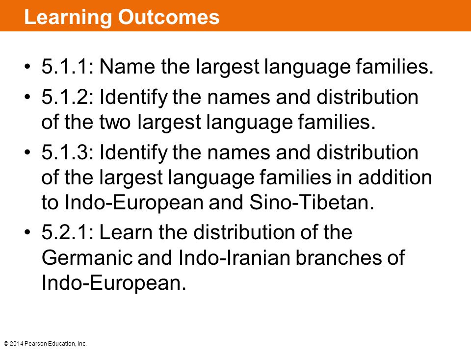 Learning Outcomes 5.1.1: Name the largest language families. 5.1.2: Identify the names and distribution of the two largest language families.