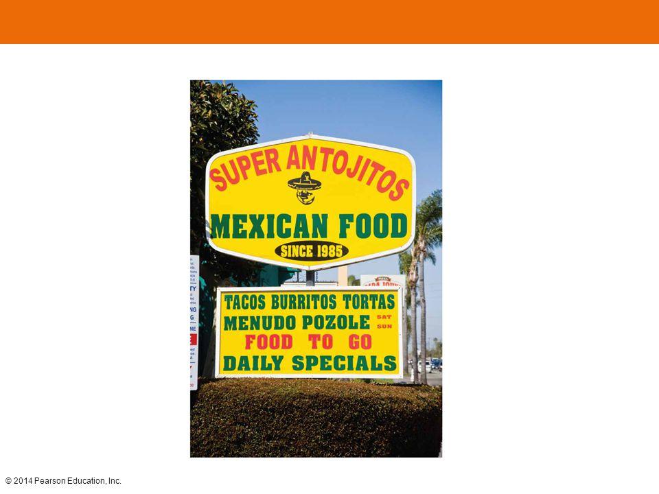 FIGURE 5-46 SPANGLISH A restaurant in Santa Ana, California, mixes Spanish and English.