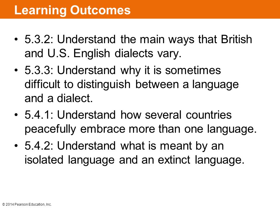 Learning Outcomes 5.3.2: Understand the main ways that British and U.S. English dialects vary.