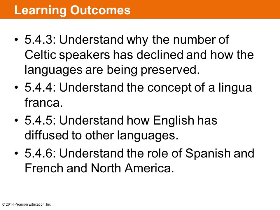 Learning Outcomes 5.4.3: Understand why the number of Celtic speakers has declined and how the languages are being preserved.
