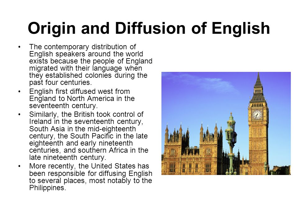Origin and Diffusion of English