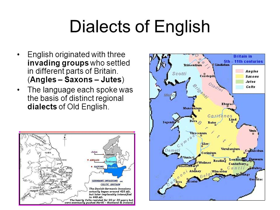 Dialects of English English originated with three invading groups who settled in different parts of Britain. (Angles – Saxons – Jutes)