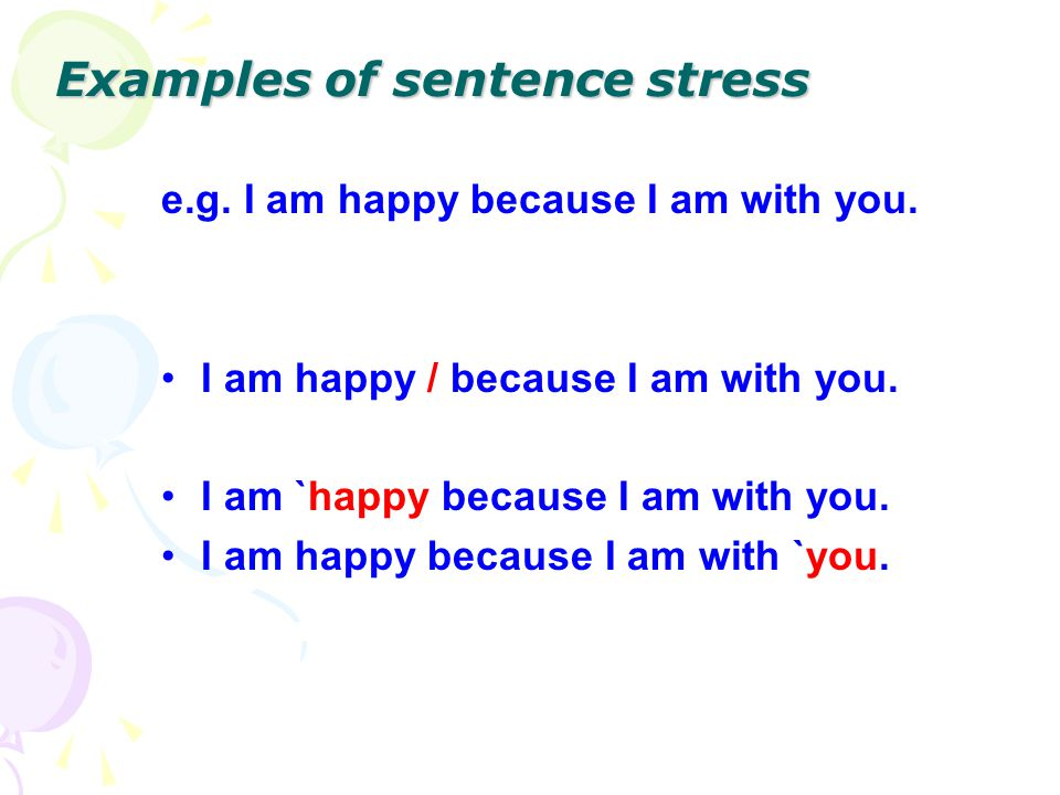 Examples of sentence stress