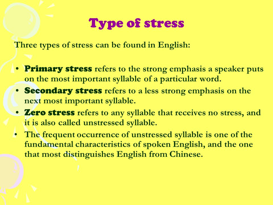 Type of stress Three types of stress can be found in English: