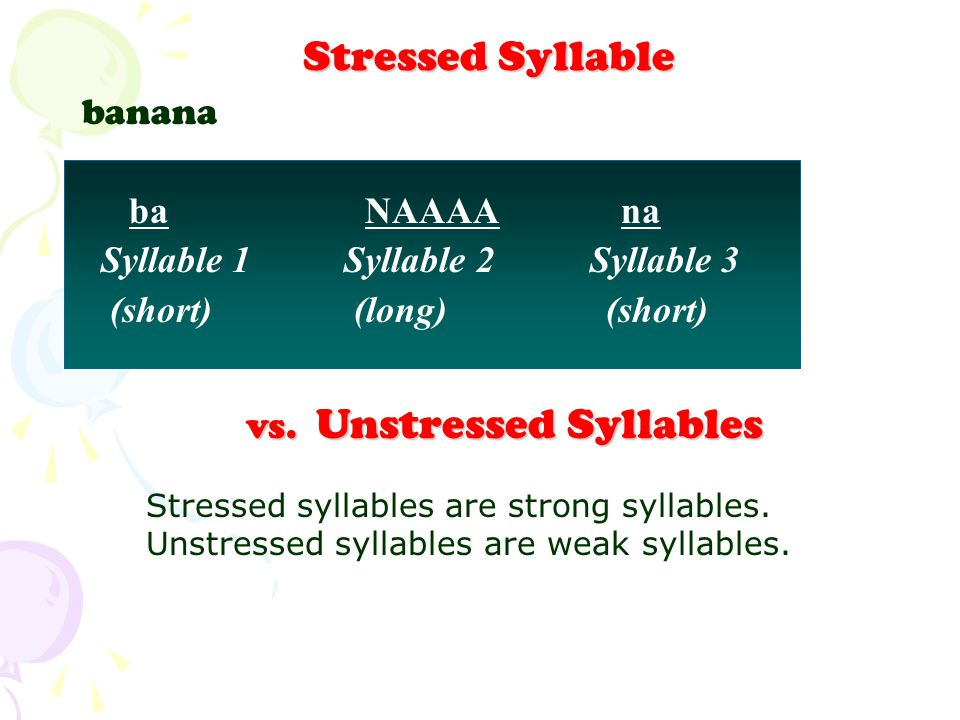 vs. Unstressed Syllables