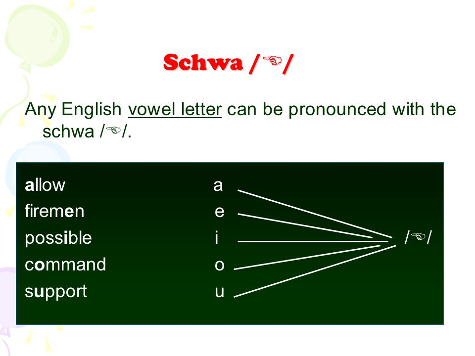 Schwa // Any English vowel letter can be pronounced with the schwa //. allow a. firemen e.