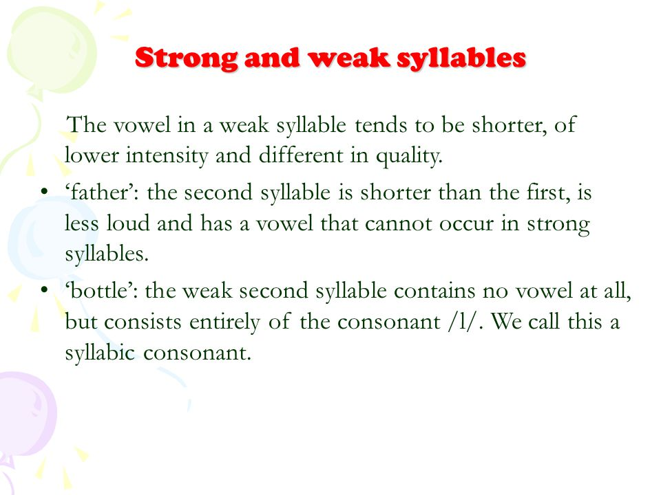 Strong and weak syllables