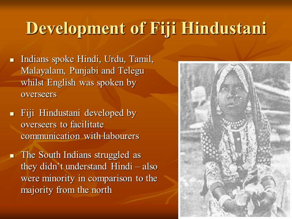 Development of Fiji Hindustani