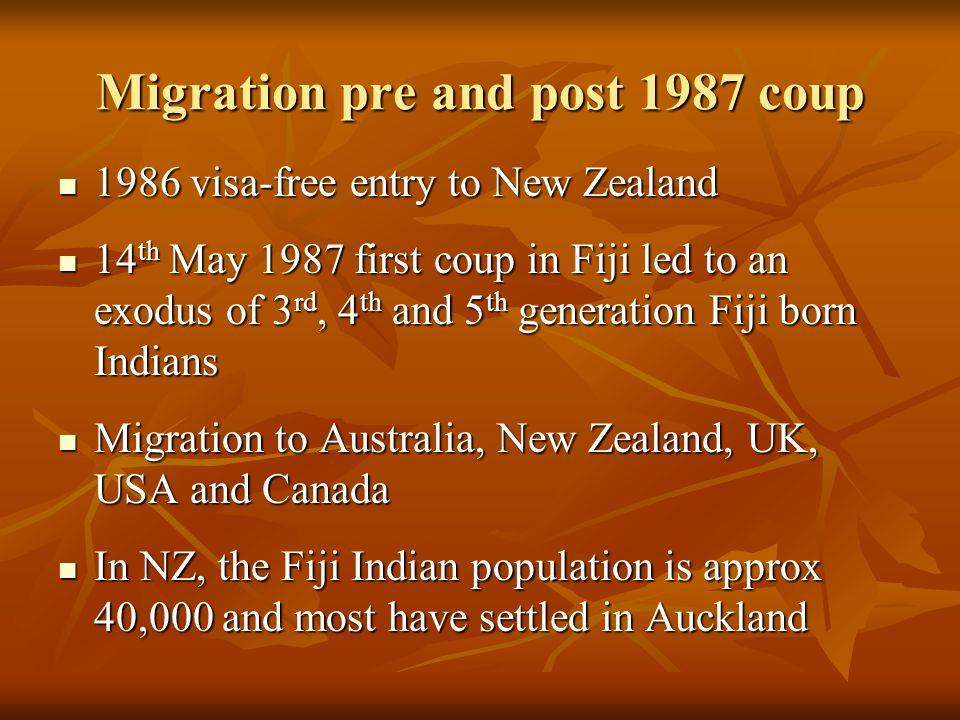 Migration pre and post 1987 coup