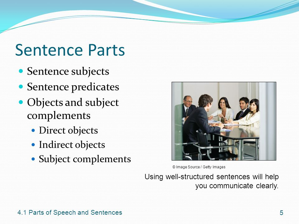 Sentence Parts Sentence subjects Sentence predicates