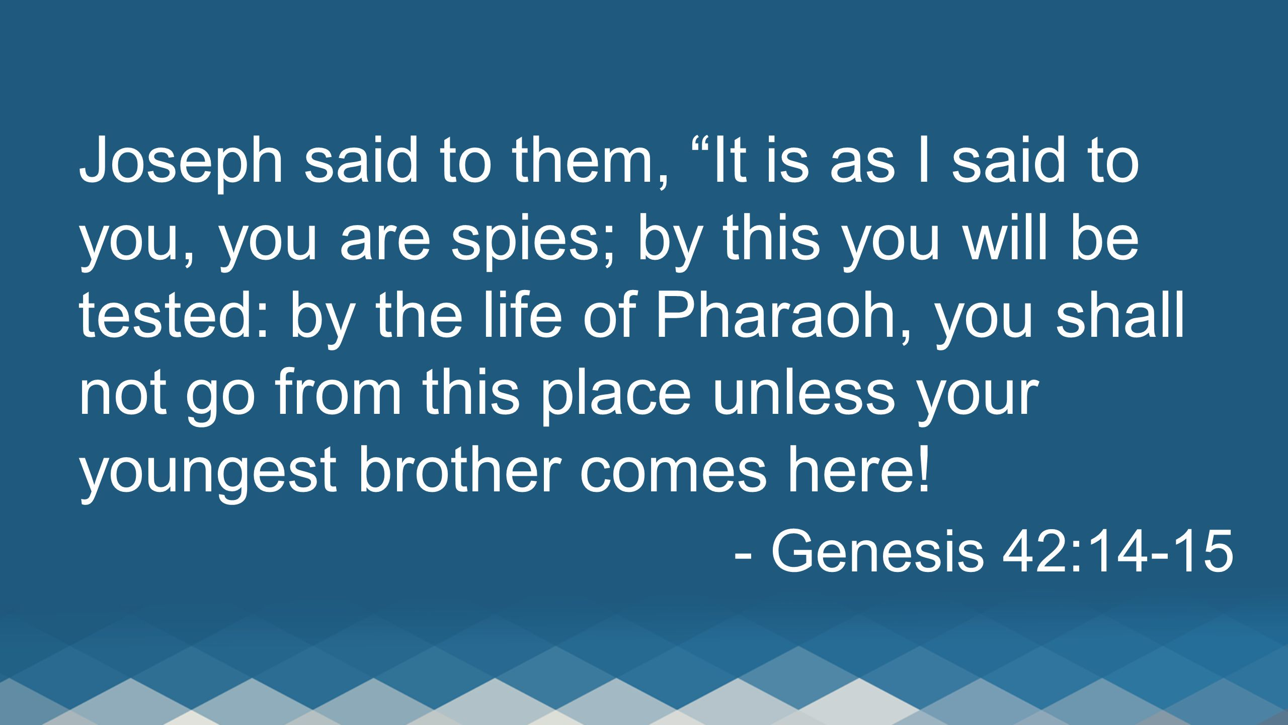 Joseph said to them, It is as I said to you, you are spies; by this you will be tested: by the life of Pharaoh, you shall not go from this place unless your youngest brother comes here!