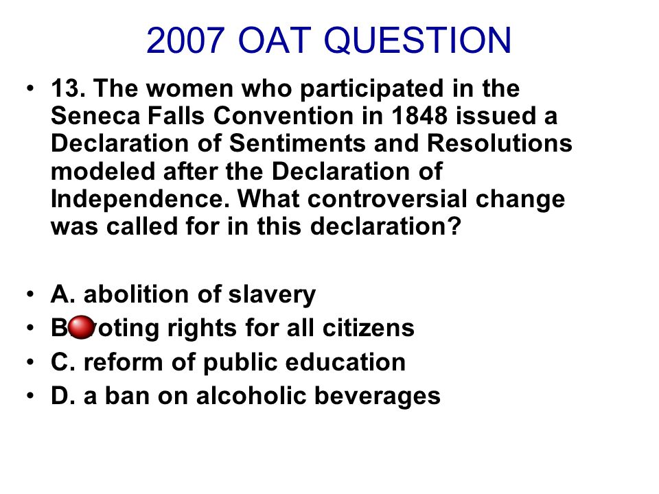 2007 OAT QUESTION