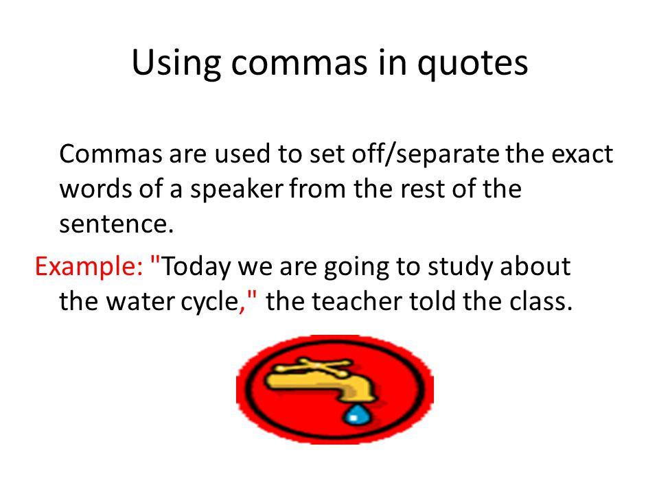 Using commas in quotes