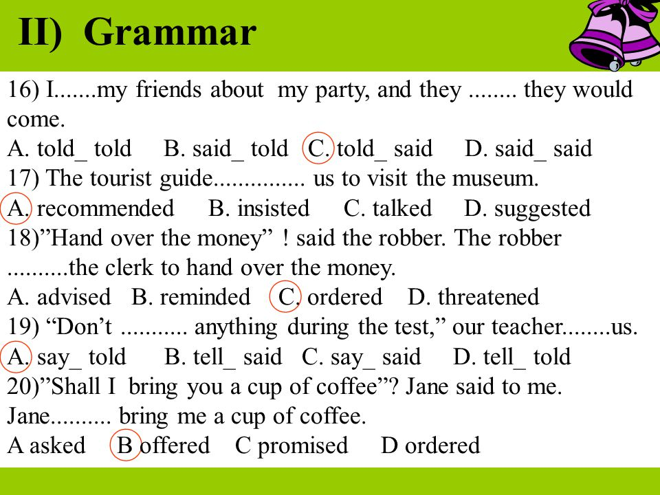 II) Grammar 16) I.......my friends about my party, and they ........ they would come.