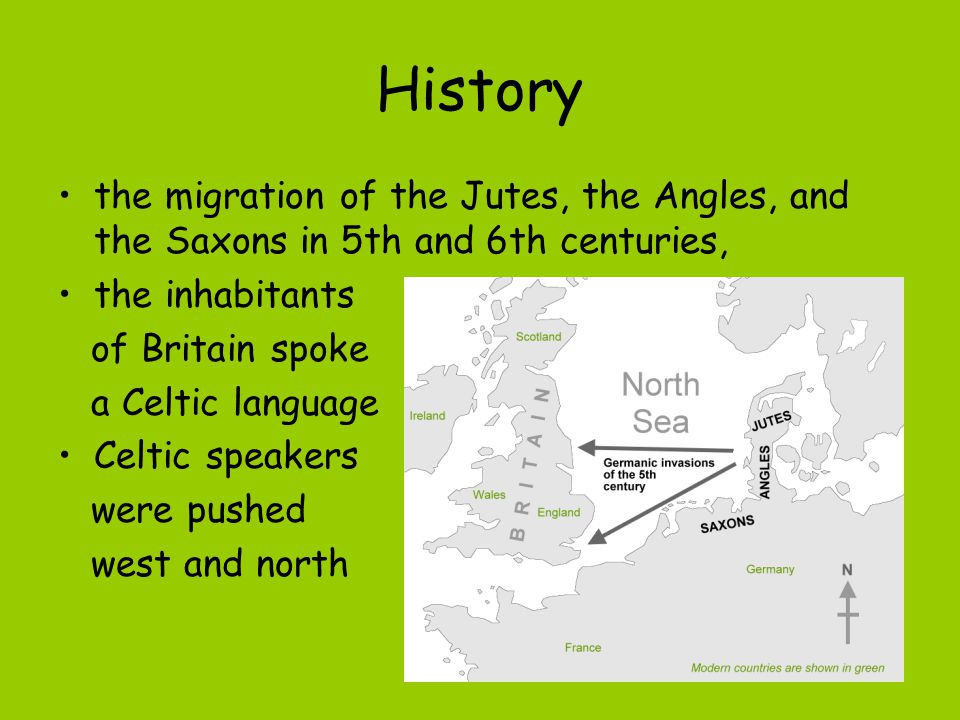 History the migration of the Jutes, the Angles, and the Saxons in 5th and 6th centuries, the inhabitants.