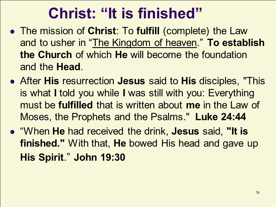 Christ: It is finished