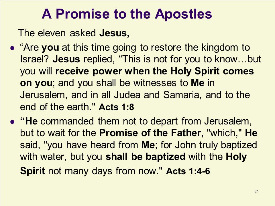 A Promise to the Apostles