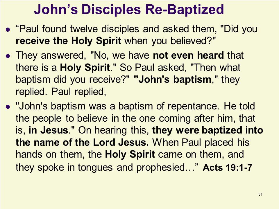 John's Disciples Re-Baptized