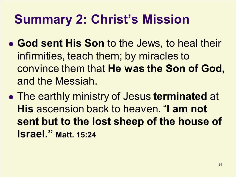 Summary 2: Christ's Mission