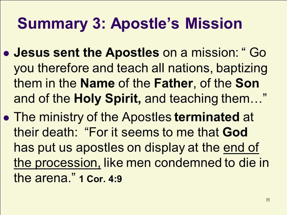 Summary 3: Apostle's Mission