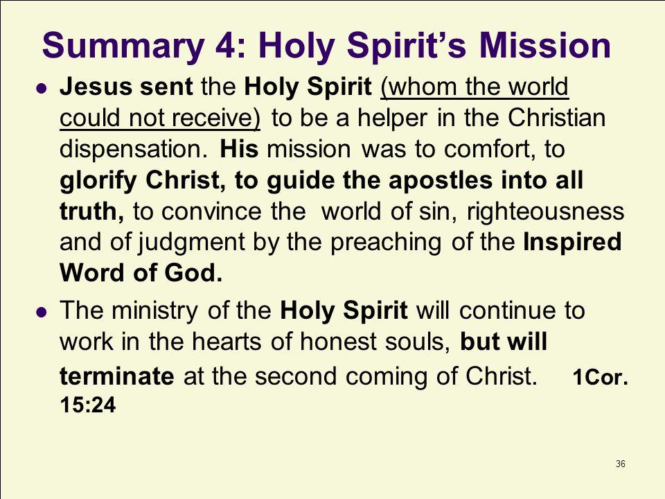 Summary 4: Holy Spirit's Mission