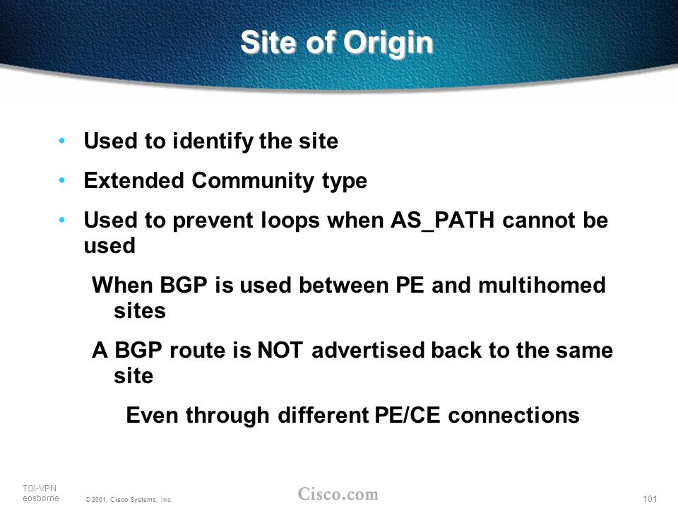 Site of Origin Used to identify the site Extended Community type