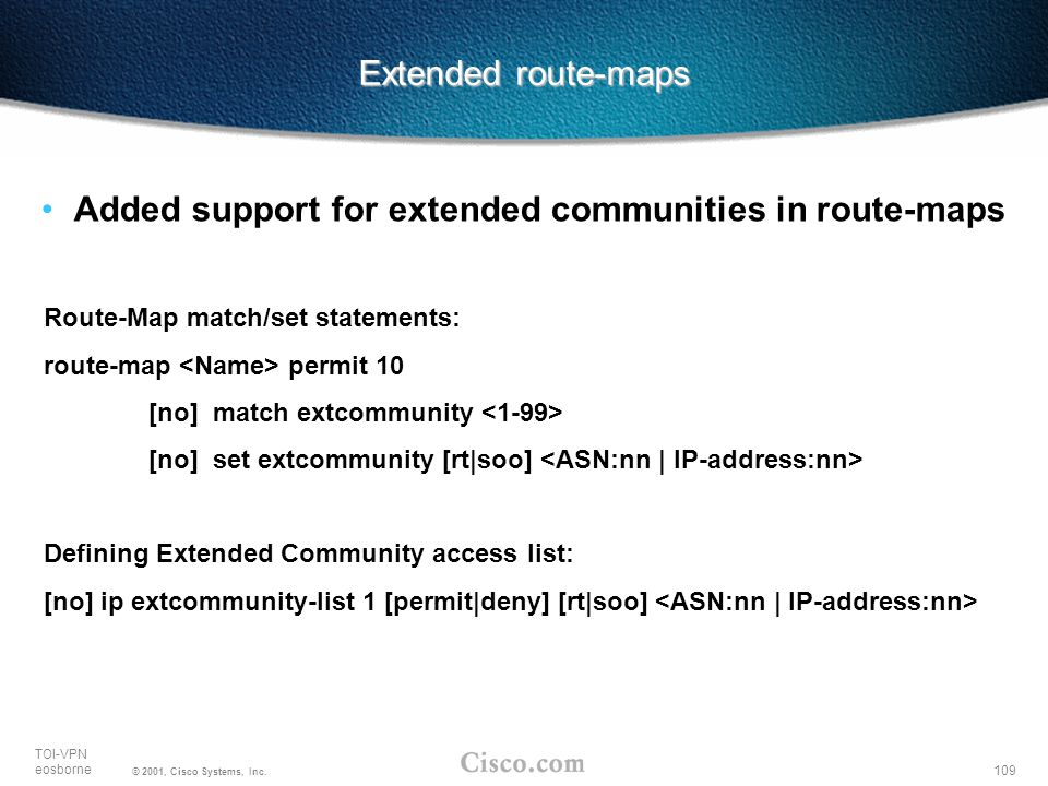 Added support for extended communities in route-maps