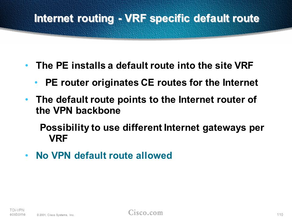 Internet routing - VRF specific default route