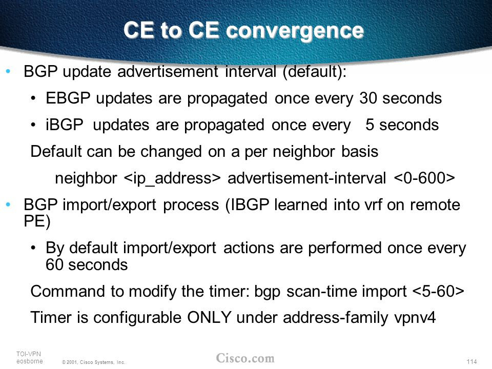 CE to CE convergence BGP update advertisement interval (default):
