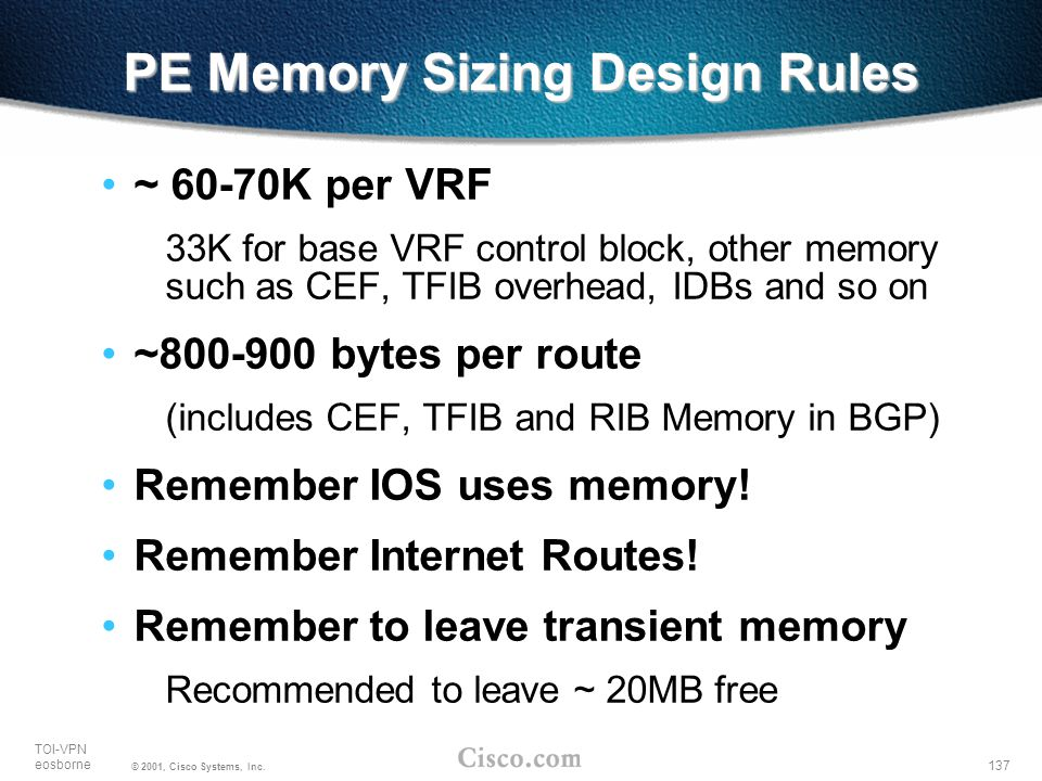 PE Memory Sizing Design Rules