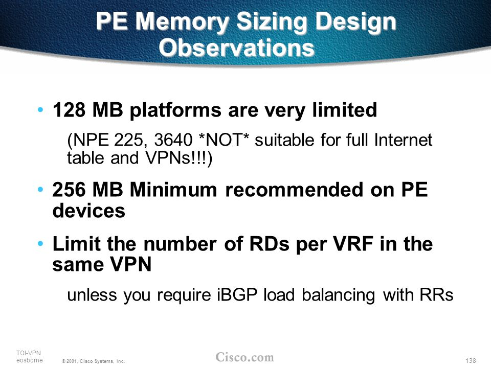 PE Memory Sizing Design Observations