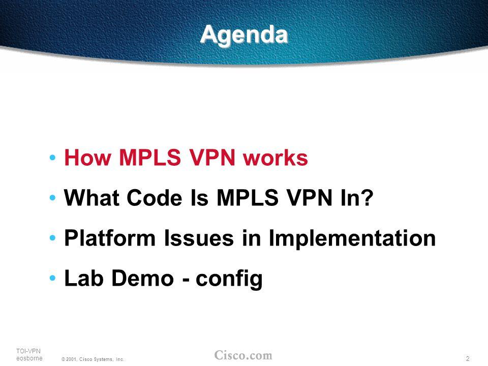 Agenda How MPLS VPN works What Code Is MPLS VPN In