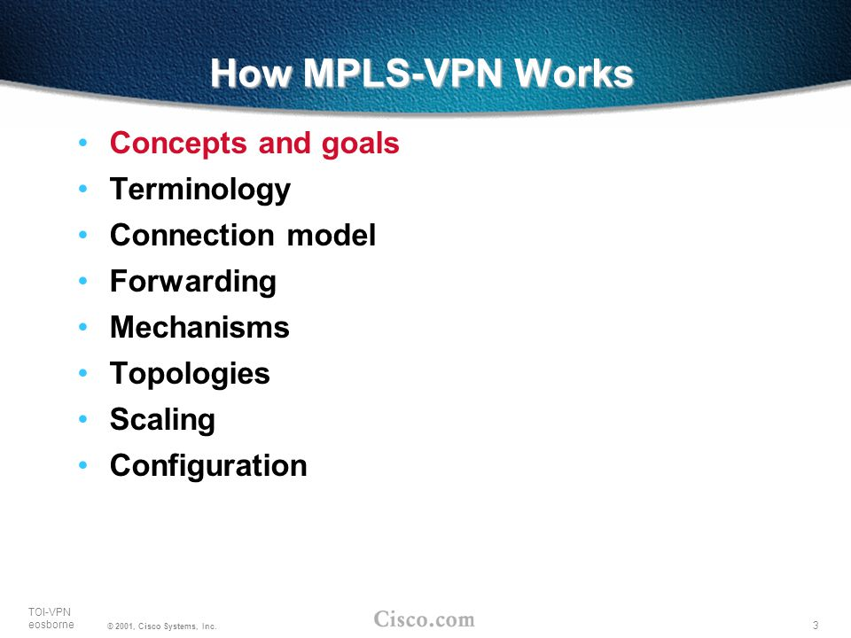 How MPLS-VPN Works Concepts and goals Terminology Connection model