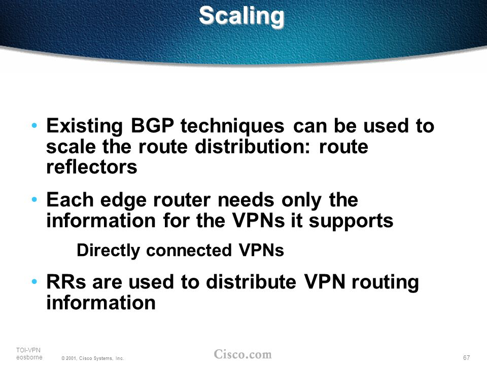 Scaling Existing BGP techniques can be used to scale the route distribution: route reflectors.