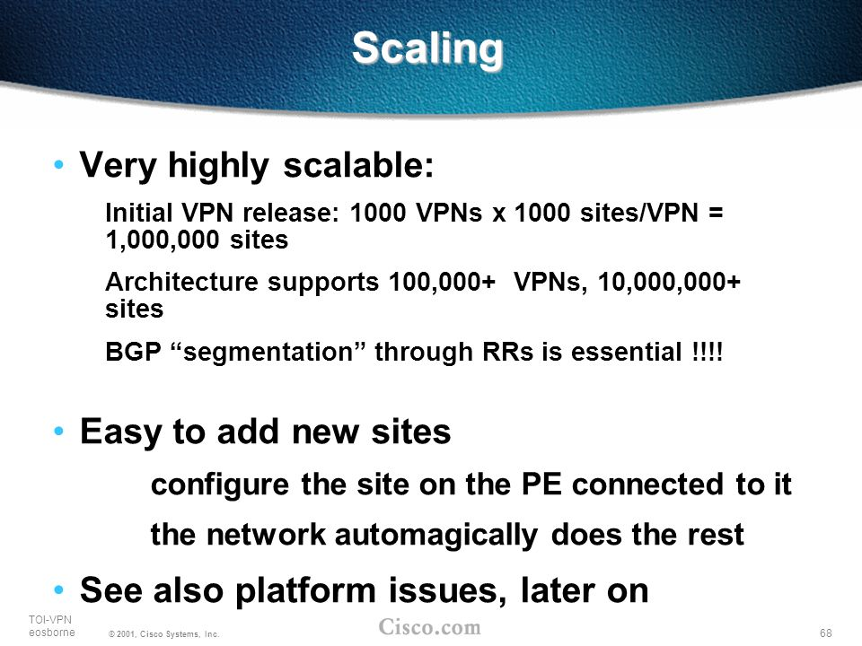 Scaling Very highly scalable: Easy to add new sites