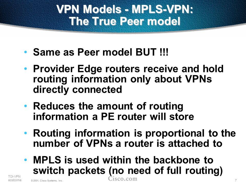 VPN Models - MPLS-VPN: The True Peer model