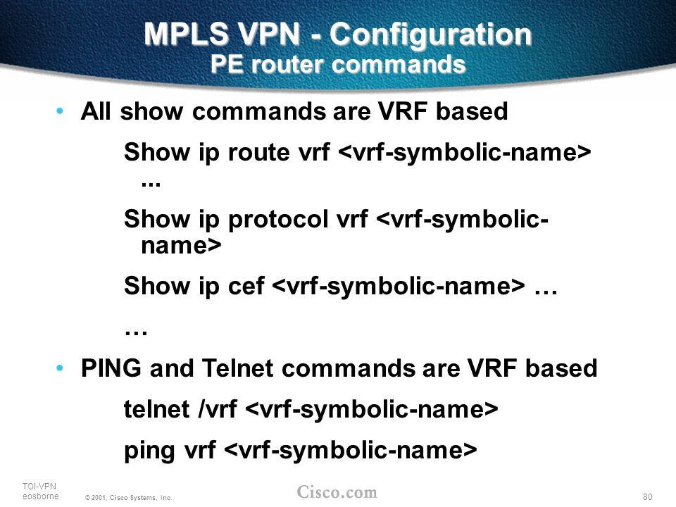 MPLS VPN - Configuration PE router commands